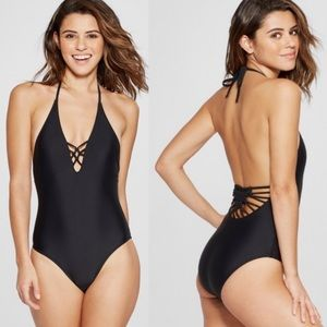 5476c41de0ba Xhilaration Macrame One-Piece Halter Swimsuit NWOT